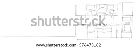 Sketch drawing of 3d modern kitchen interior with round hood monochrome on white long background