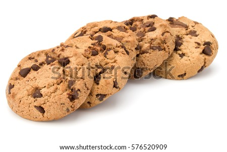 Chocolate chip cookies isolated on white background. Sweet biscuits. Homemade pastry. #576520909