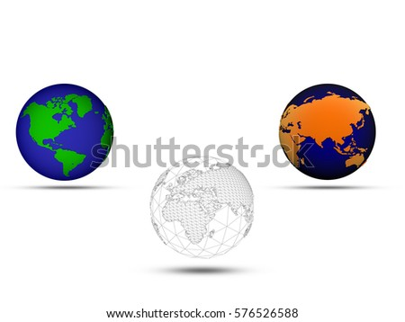 Three different versions of the planet earth illustration #576526588