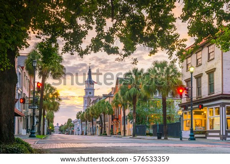 Historical downtown area of  Charleston, South Carolina, USA at twilight. Royalty-Free Stock Photo #576533359