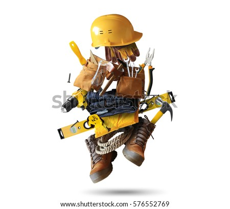 Construction tools with a shoes and a helmet Royalty-Free Stock Photo #576552769