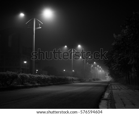 The streetlamps at night #576594604