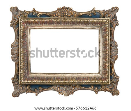Blank vintage picture frame isolated on white background #576612466