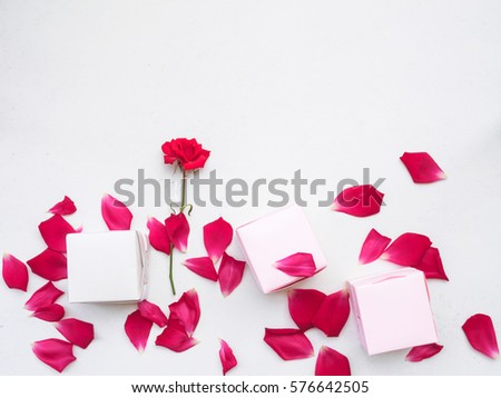 Gift box and red petals flower on white background, Romantic and softness style, Flat lay and copy space #576642505