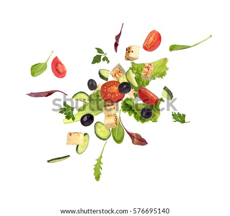 Flying salad on white background #576695140