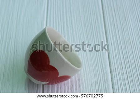 empty ceramic glass red heart  #576702775