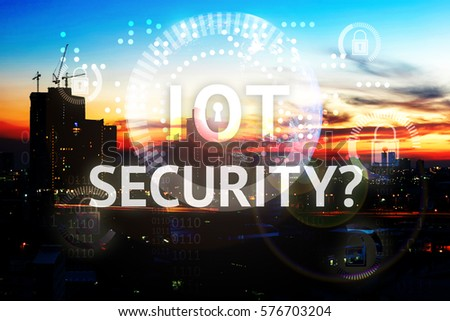 Security in internet of things (IoT) concept. Text , master key graphic and earth furnished by NASA with industry city view background #576703204