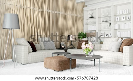 Modern bright interior . 3D rendering #576707428