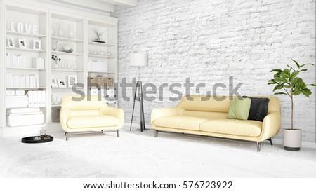 Modern bright interior . 3D rendering #576723922