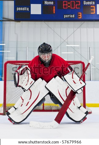 Ice hockey goalie in front of his net. Picture taken in ice arena.