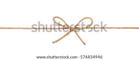Single bow knot on a linen rope string isolated over the white background Royalty-Free Stock Photo #576834946