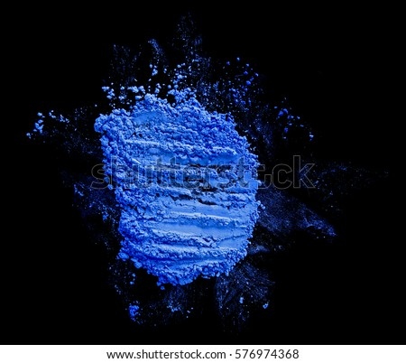 makeup products eyeshadow blue scattered black background isolated #576974368