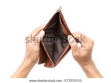 Man hand open an empty wallet on white background Royalty-Free Stock Photo #577019155