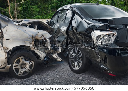 car crash accident on the road Royalty-Free Stock Photo #577056850