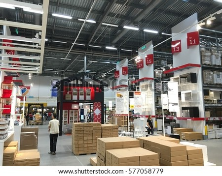 CHERAS, MALAYSIA - 5 FEB 2017: Warehouse aisle in an IKEA store. Founded in 1943, IKEA is the world's largest furniture retailer. IKEA operates 351 stores in 43 countries. #577058779