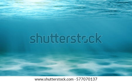 Underwater view of the sea surface or Tranquil underwater scene with copy space.