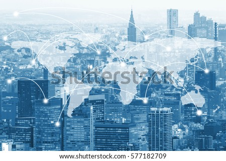 Double exposure global world map on business financial network city background. Elements of this image furnished by NASA Royalty-Free Stock Photo #577182709