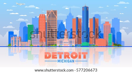 Detroit, Michigan (USA) city skyline vector illustration on sky background.Business travel and tourism concept with modern buildings. Image for presentation, banner, web site.