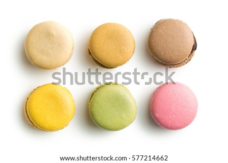 Sweet colorful macarons isolated on white background. #577214662