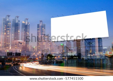Double exposure of blank billboard for business advertisement with city background at twilight  #577451500