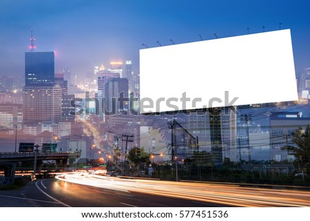 Double exposure of blank billboard for business advertisement with city background at twilight  #577451536