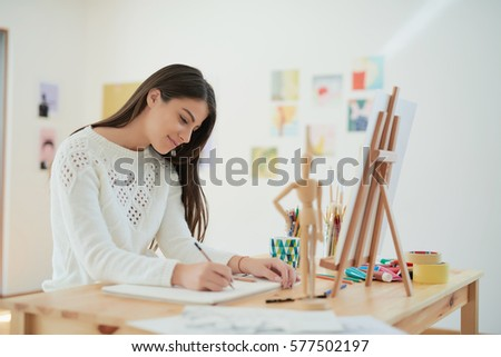 female artist at her home #577502197