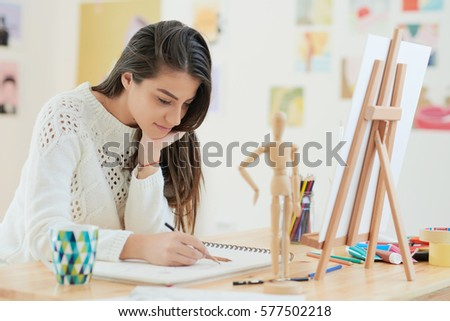 female artist at her home #577502218