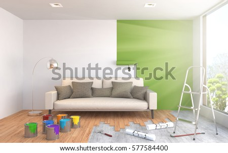 Repair and painting of walls in room. 3D illustration. #577584400