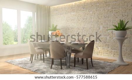 Interior dining area. 3d illustration #577588615