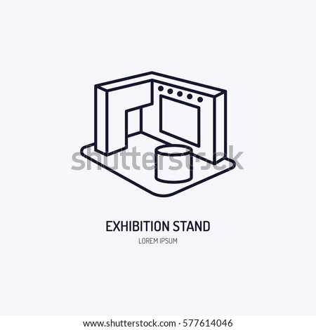 Exhibition banner stand vector line icon. Advertising sign Royalty-Free Stock Photo #577614046