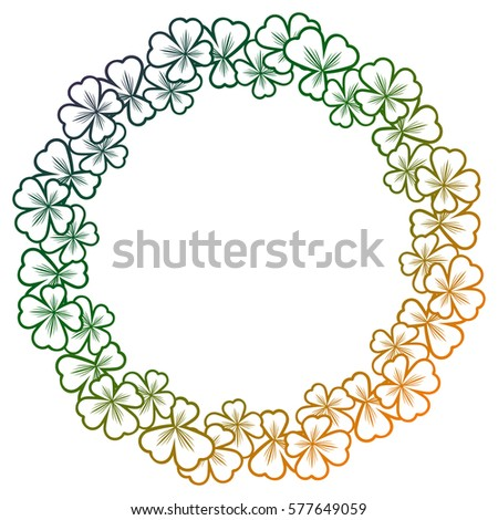 Gradient color round frame with shamrock contour. Copy space. Raster clip art.