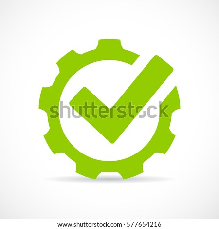 Abstract technical vector icon illustration on white background. Tick gear eps vector sign. Royalty-Free Stock Photo #577654216