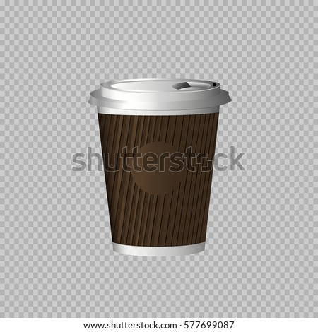 eps 10 vector paper cup for hot and cold drinks isolated on transparent background #577699087