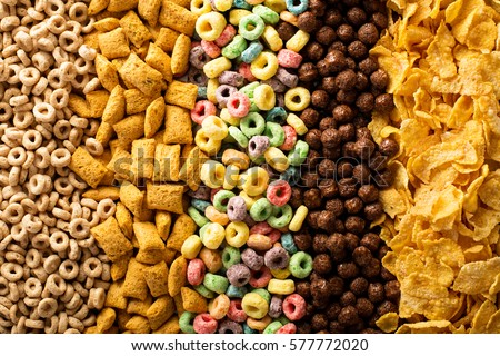 Variety of cold cereals, quick breakfast for kids overhead shot #577772020
