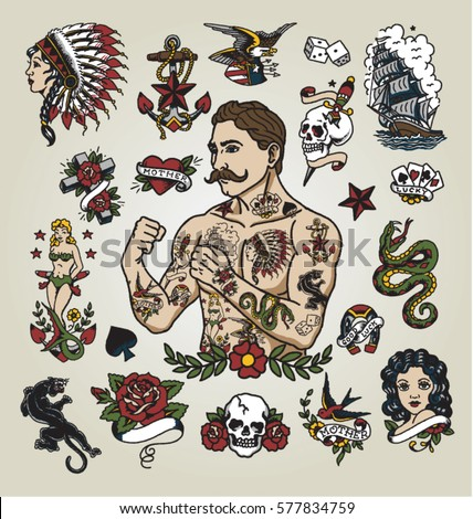 Tattoo flash set. Isolated tattoo hipster man and various tattoo images. Royalty-Free Stock Photo #577834759