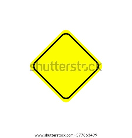 Flat warning sign. Warning signpost vector illustration. Single yellow symbol on white background. Color attention sign. Isolated vector warning sign. #577863499