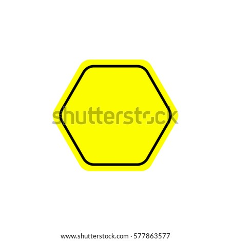 Flat warning sign. Warning signpost vector illustration. Single yellow symbol on white background. Color attention sign. Isolated vector warning sign. #577863577