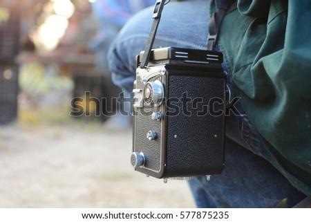 the black old film camera
