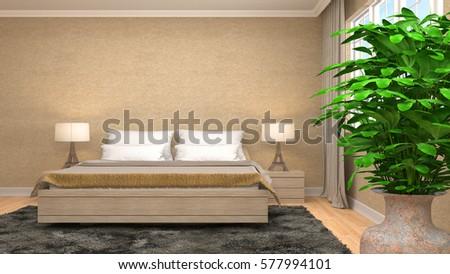 Bedroom interior. 3d illustration #577994101