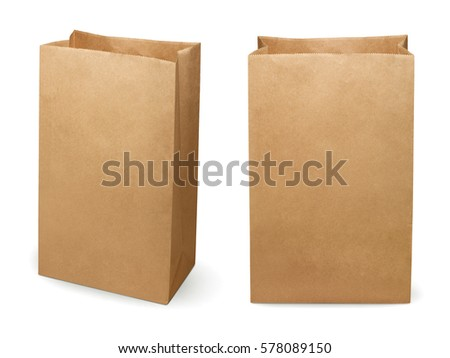 Brown paper bag isolated on white background #578089150
