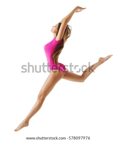 Woman Sport Gymnast, Young Girl Dance Gymnastics Jump, Isolated over White, Slim Sporty Body in Pink Leotard