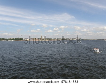 View at the Admiralty across Neva River in Saint Petersburg, Russia #578184583