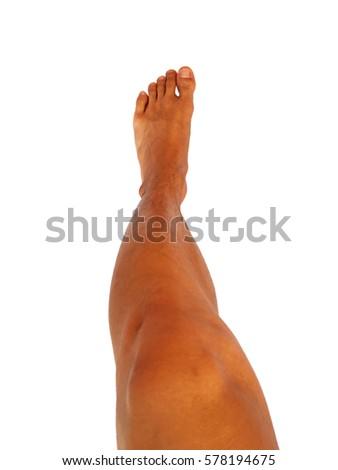 Left foot with leg of men's health in Asia. #578194675