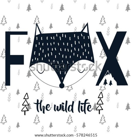 fox typography and pattern background illustration vector.