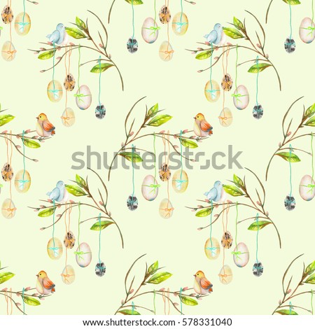 Seamless pattern with Easter eggs on the spring tree branches, hand drawn isolated on a light green background #578331040