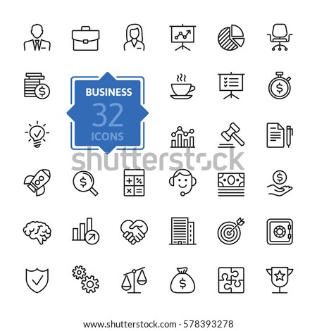 Business and finance web icon set - outline icon collection, vector #578393278