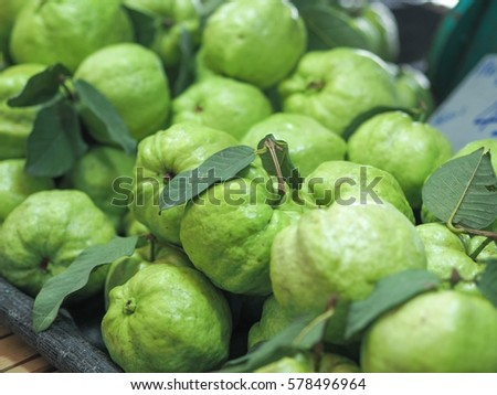 Green guava in the market. #578496964