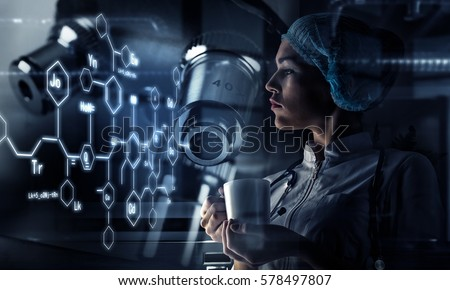 Innovative technologies in science and medicine. Mixed media . Mixed media Royalty-Free Stock Photo #578497807