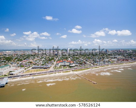 Aerial view of Galveston Beach and Hotels #578526124