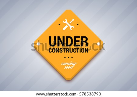 Under construction sign. Vector illustration for website. Royalty-Free Stock Photo #578538790